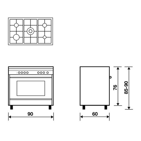 Technical drawing Gas Oven with Grill gas - MLB612GI - Glem Gas