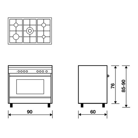 Technical drawing Multifunction gas oven with fan - MLB612RI - Glem Gas