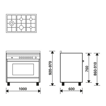 Technical drawing Multifunction Gas Oven with fan - MQ1644RI - Glem Gas