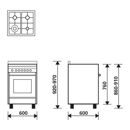 Technical drawing Multifunction gas oven with fan - MQ6613RI - Glem Gas
