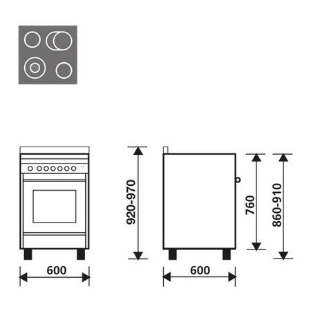 Dessin technique Four électrique multifonction - MQ6623VI - Glem Gas