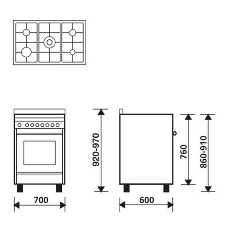 Diseño técnico Horno a gas - Grill a gas - MQ7612GI - Glem Gas