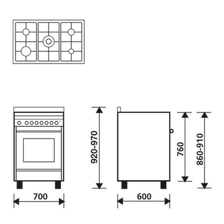 Technical drawing Multifunction gas oven with fan - MQ7612RI - Glem Gas