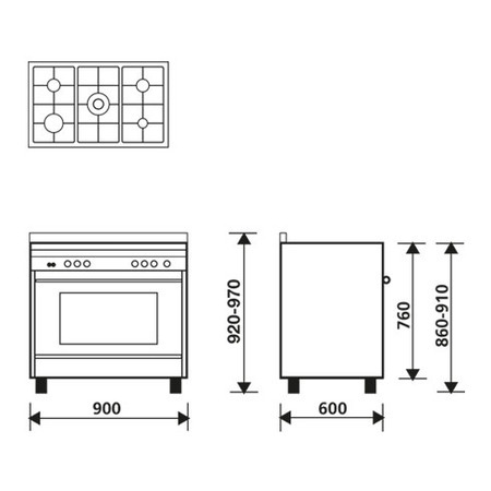 Technical drawing Static gas oven - gas grill - MQB612GI - Glem Gas