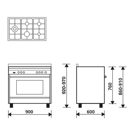 Technical drawing Multifunction Gas Oven with fan - MQB644RI - Glem Gas