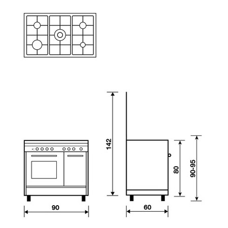 Technical drawing Static Oven with electric grill - PU9612EI - Glem Gas