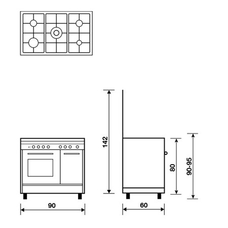 Technical drawing Gas oven with Gas grill - PU9612GI - Glem Gas