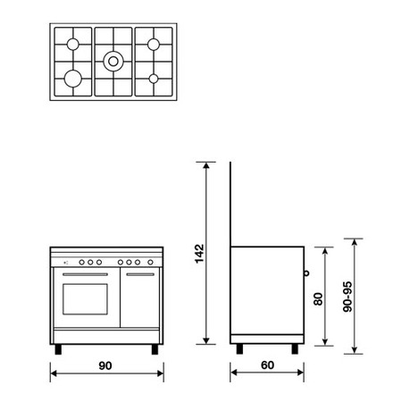 Technical drawing Gas oven with Grill electric - PU9612MI - Glem Gas