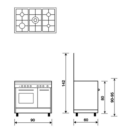 Technical drawing Multifunction oven with electric grill - PU9612WI - Glem Gas