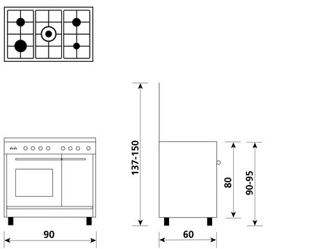 Technical drawing Multifunction oven with electric grill - PU9612WX - Glem Gas