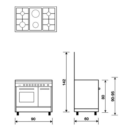 Technical drawing Static Oven with electric grill - PU9621EI - Glem Gas
