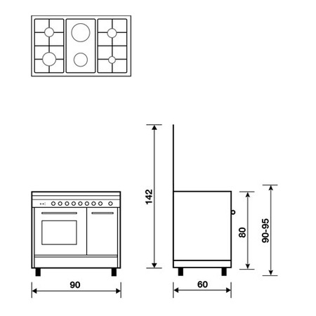 Technical drawing Gas oven with Gas grill - PU9621GX - Glem Gas