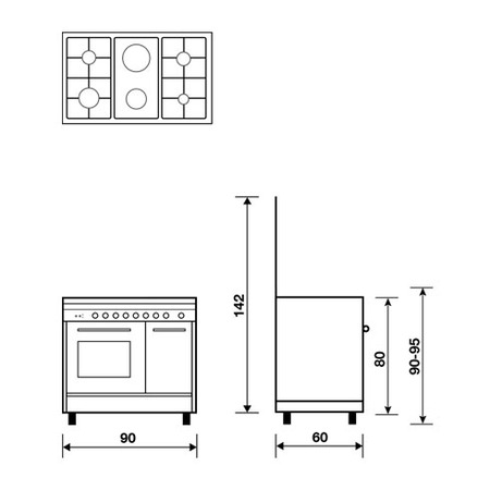 Technical drawing Multifunction oven with electric grill - PU9621WX - Glem Gas