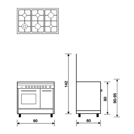 Technical drawing Gas oven with Gas grill - PU9622GX - Glem Gas