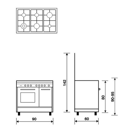 Technical drawing Gas oven with Grill electric - PU9622MX - Glem Gas