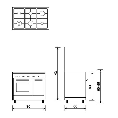 Technical drawing Multifunction oven with electric grill - PU9622WI - Glem Gas