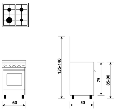 Disegno tecnico Forno Gas + Grill Elettrico + Ventola  - U654VX - Glem Gas