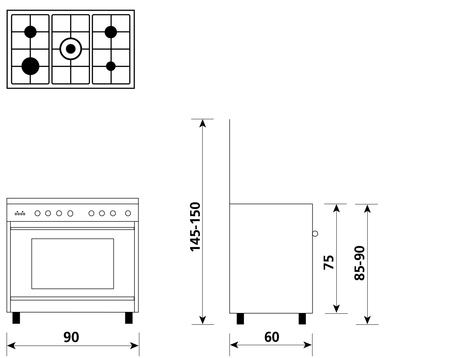 Disegno tecnico Forno Elettrico Multifunzione 8 funzioni - UN965MI - Glem Gas