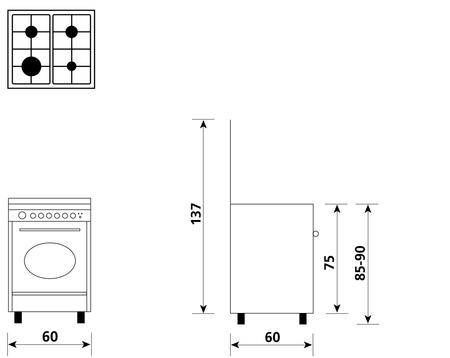 Disegno tecnico Forno Elettrico Multifunzione 8 funzioni - UA66VR3 - Glem Gas