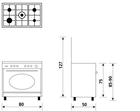 Disegno tecnico Forno Gas + Grill Elettrico (Misto)  - UA85TR3 - Glem Gas