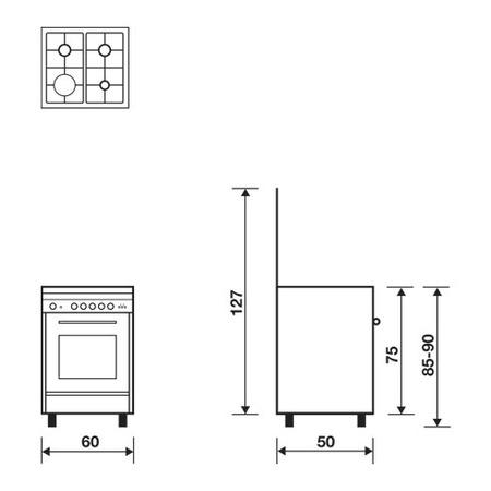 Технический проект 60x50 Мультифункциональная газовая духовка с конвекцией - UN6511RX - Glem Gas