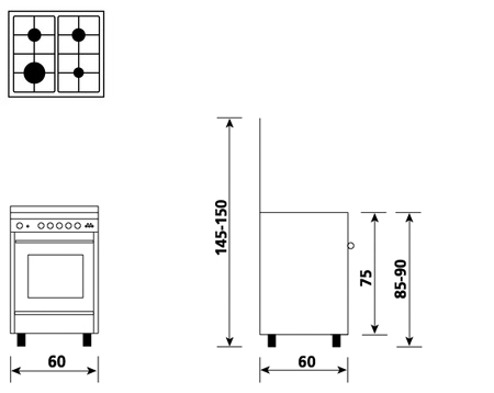 Technical drawing Multifunction oven with electric grill - UN6611WI - Glem Gas