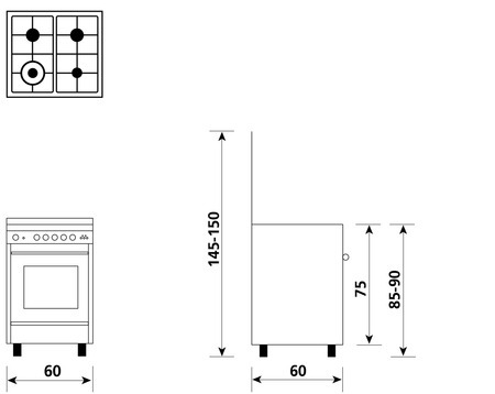 Technical drawing Multifunction oven with electric grill - UN6613WX - Glem Gas