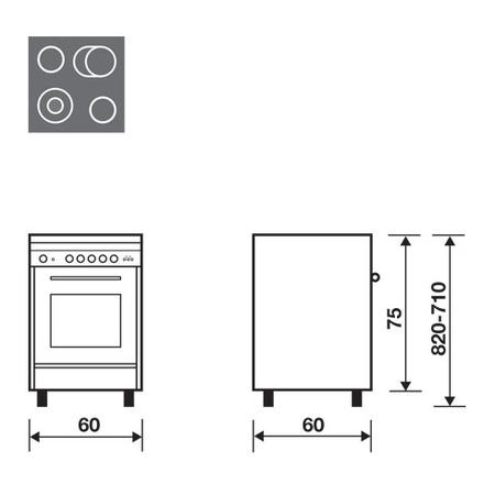 Технический проект 60x60 Мультифункциональная электродуховка - UN6623VI - Glem Gas