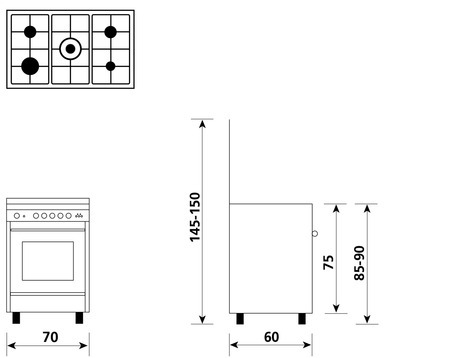 Technical drawing Multifunction oven with electric grill - UN7612WX - Glem Gas