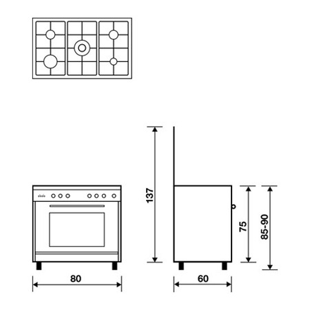 Technical drawing Static Oven with electric grill - UN8612EI - Glem Gas