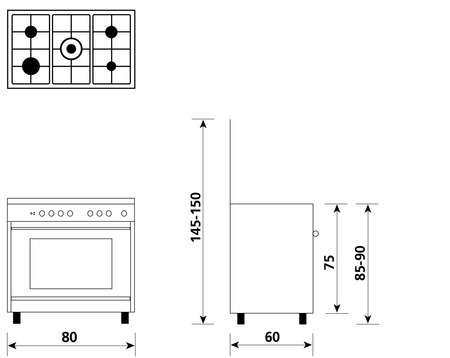 Technical drawing Gas oven with Gas grill  - UN8612GI - Glem Gas