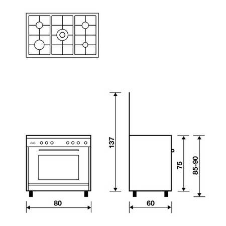 Technical drawing Multifunction gas oven with fan - UN8612RI - Glem Gas