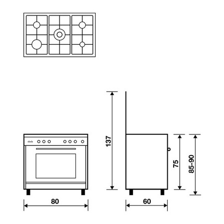 Technical drawing Multifunction oven with electric grill - UN8612WI - Glem Gas