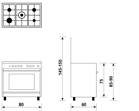 Technical drawing Multifunction oven with electric grill - UN8612WX - Glem Gas