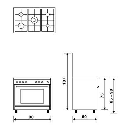 Technical drawing Gas oven with Gas grill - UN9612GX - Glem Gas