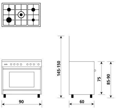 Technical drawing Multifunction gas oven with fan - UN9612RI - Glem Gas