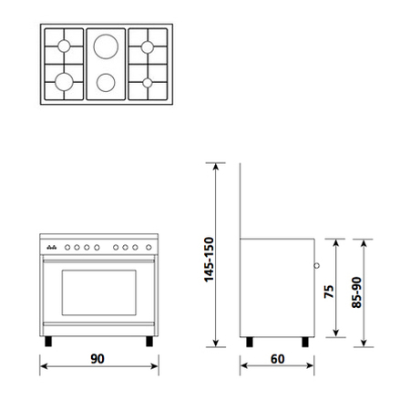 Technical drawing Gas oven with Gas grill  - UN9621GI - Glem Gas
