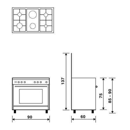 Technical drawing Multifunction gas oven with electric grill - UN9621RI - Glem Gas