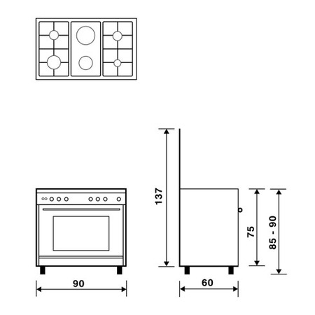 Technical drawing Multifunction gas oven with fan - UN9621RX - Glem Gas