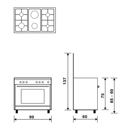 Technical drawing Multifunction gas oven with fan - UN9621WI - Glem Gas