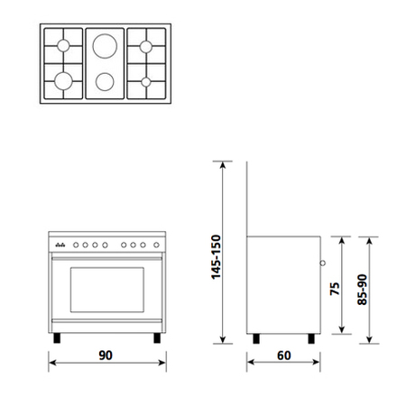 Technical drawing Multifunction oven with electric grill - UN9621WX - Glem Gas