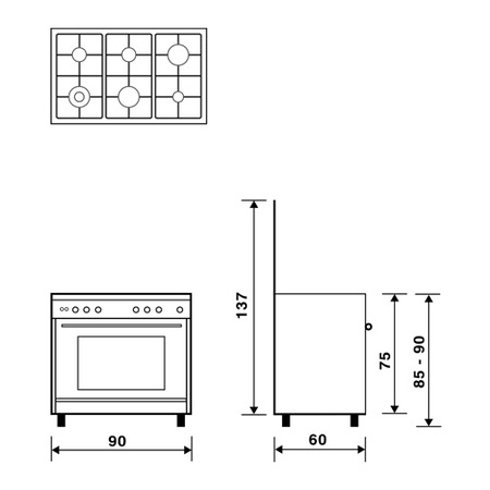 Technical drawing Multifunction gas oven with fan - UN9622RX - Glem Gas