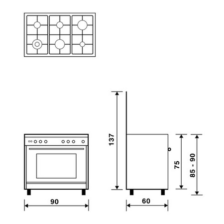 Technical drawing Multifunction gas oven with fan - UN9622WI - Glem Gas