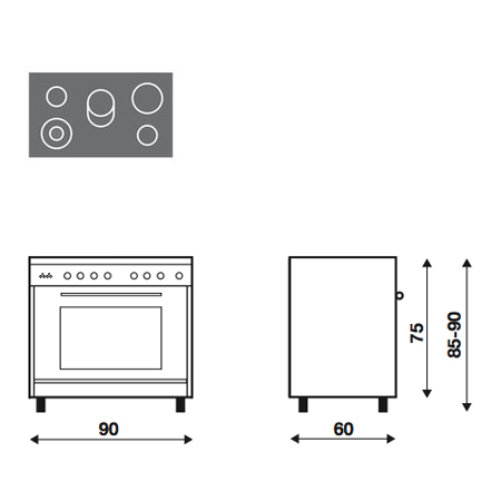 Technical drawing Multifunction electric oven - UN9624VI - Glem Gas