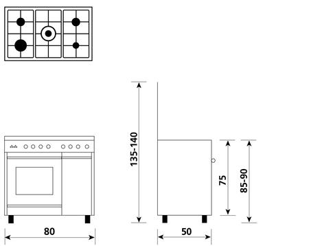 Disegno tecnico Forno Gas + Grill Elettrico + Ventola - UQ855VX - Glem Gas