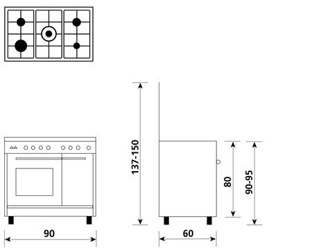 Disegno tecnico Forno Gas + Grill Elettrico + Ventola - UR965VI - Glem Gas