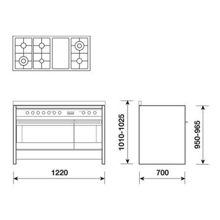 Technical drawing 122X70 Double oven - GP122EI - Glem Gas