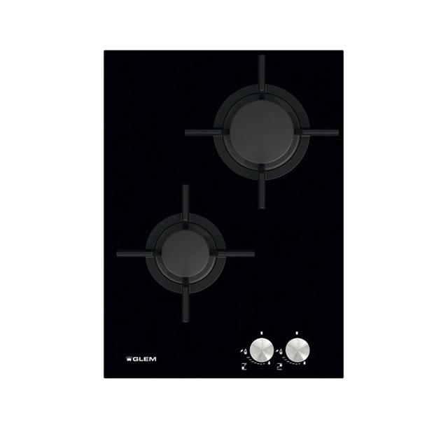 Стеклокерамическая газовая варочная панель с 2 конфорками
