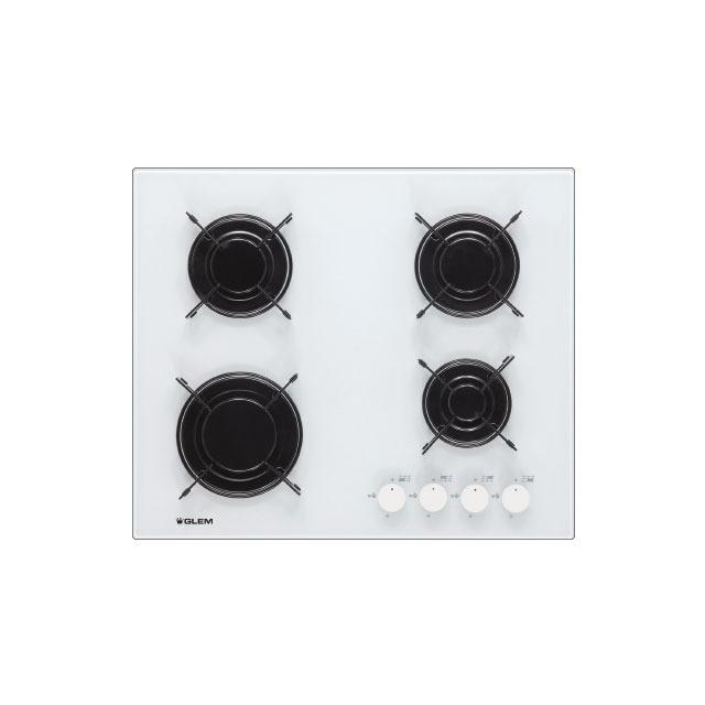 Table verre gaz 4 foyers 60 cm blanche