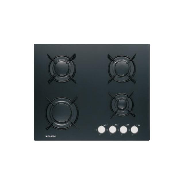 Table verre gaz 4 foyers 60 cm noire - GV64BK